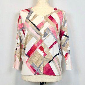 White House Black Market Pink Geometric Cardigan